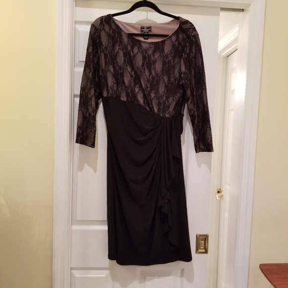 American Living Dresses Womens Size 16 Black Lace Top Cocktail